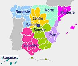 Mapa de los campus de la UNED
